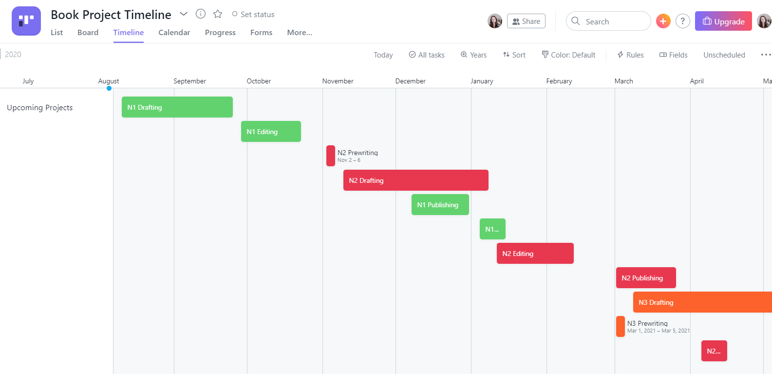Brit Poe - Book Project Timeline in Asana